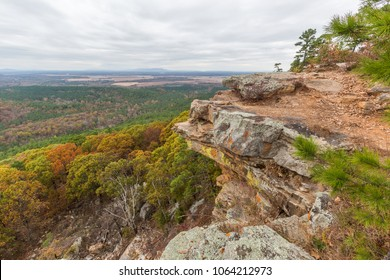 Arkansas fall landscapes. Petit jean mountain. Mount Nebo. Scenic views in Autumn. Fall color. Iconic location.