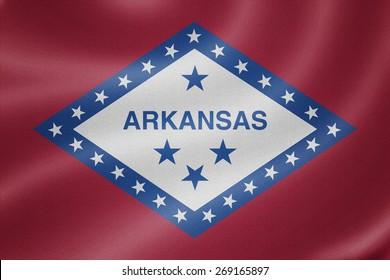 Arkansas flag on the fabric texture background