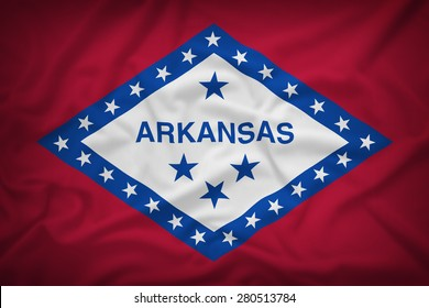 Arkansas flag on the fabric texture background,Vintage style