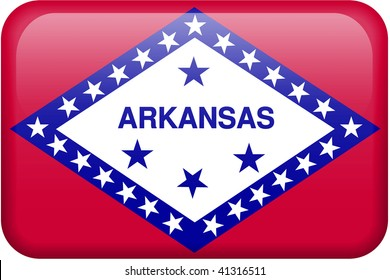 Arkansas flag rectangular button.  Part of set of US State flags all in 2:3 proportion with accurate design and colors.