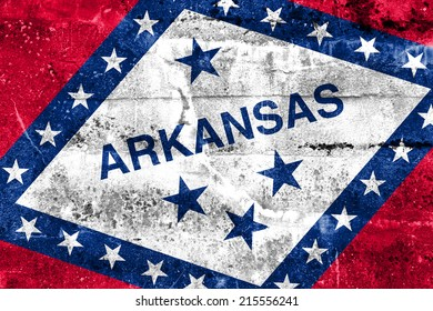 Arkansas State Flag painted on grunge wall