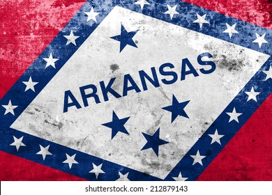 Arkansas State Flag with a vintage and old look