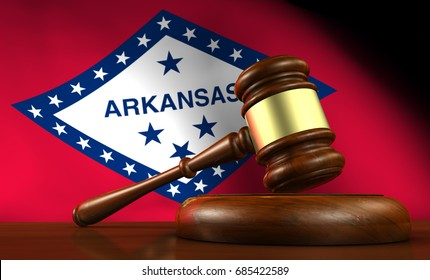 Arkansas state laws, legal system and justice concept with a 3D rendering of a gavel and flag on background.