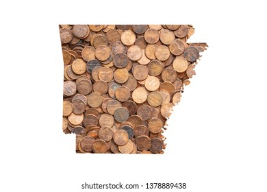 Arkansas State Map and Money Concept, Piles of Coins, Pennies