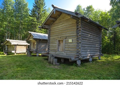 ARKHANGELSK, RUSSIA - AUG 1, 2013: Photo of the Barns of the XIX century. Arkhangelsk State Museum of Wooden Architecture and Folk Art Mallye Korely