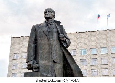 Arkhangelsk, Russian Federation - May 20, 2017: Monument to Vladimir Ilyich Lenin on the Lenin square in Arkhangelsk.