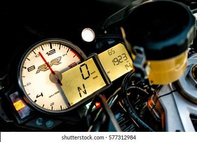 ARKHANGELSK, RUSSIAN FEDERATION - SEPTEMBER 4: BMW S1000RR sport bike dashboard, September 4, 2016 at Arkhangelsk, Russian Federation