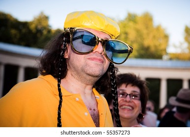 "ARKHANGELSKOE - JUNE 6:  Man With Big Sunglasses. 7th International Jazz Festival ""USADBA.JAZZ"" , June 6, 2010 in Arkhangelskoe, Russia"