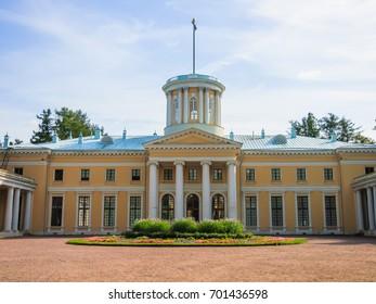 ARKHANGELSKOYE, RUSSIA - August 2, 2017: Grand palace in Arkhangelskoye Estate Museum. Built 1784 - 1820 years. It belonged to Prince Yusupov. In 1919 the museum was opened in it.