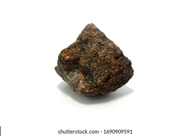 Arkose rock on white background. Arkose is a type of sandstone that contains lots of feldspar grains.