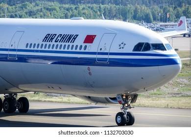 Arlanda, Stockholm, Sweden - July 6, 2018: Air China, Airbus A330 - 300 taxi at Stockholm Arlanda Airport / ARN. Jet aircraft / plane.