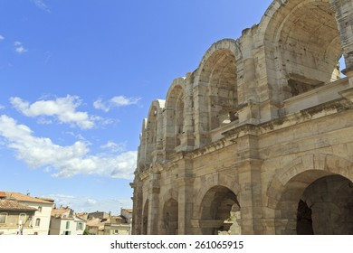 Arles Amphitheatre with blue sky (Arles, France)