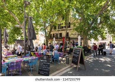 Arles,  Buches du Rhone, Provence, France, 2018-06. Place Voltaire in historic city center of Arles.