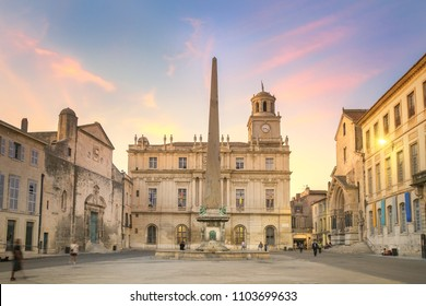 Arles at dusk, view of the Obelisk at the so called Place de Republique