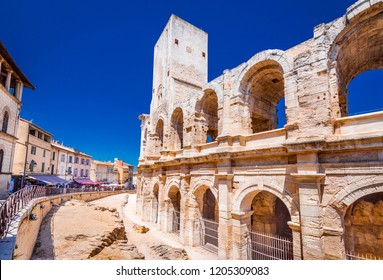 Arles, France. Ancient roman Amphiteatre (Arena) in the old Provence city.