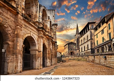 Arles, France: the ancient Roman Arena, a 1st-century amphitheatre, one of the best preserved of antiquity