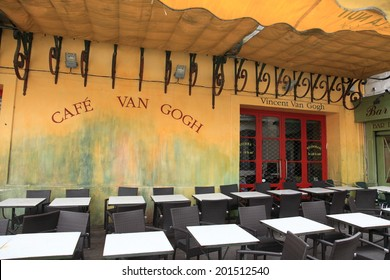 ARLES, FRANCE - JAN 23, 2013: View of Cafe Van Gogh on Jan 23, 2013 in Arles, France.  This is the same Cafe Terrace that Vincent van Gogh painted in 1888 and is now a landmark tourist attraction.