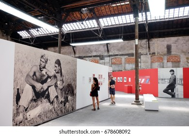 ARLES, FRANCE - JULY 09, 2017: An exhibition of Karlheinz Weinberger at photography festival Les Rencontres d'Arles