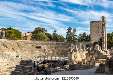 ARLES, FRANCE - JULY 11, 2016: Roman amphitheatre in Arles, France in a beautiful summer day