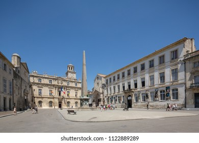 Arles France July 2015 : Arles Old Town with the Town Hall, Cloc