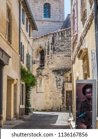 Arles, France - July 3 2018: Street view of Arles during Rencontres d'Arles Photo Exhibition