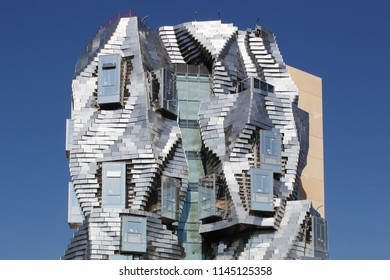 Arles, France- July 4, 2018: Foundation and luma tower from Franck Gehry in Arles, France