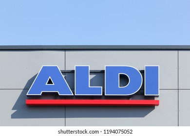 Arles, France - July 4, 2018: Aldi sign on a wall. Aldi is a leading global discount supermarket chain with over 9 000 stores in 18 countries