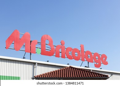 Arles, France - July 4, 2018: Mr. Bricolage logo on a building. Mr. Bricolage is a French retail chain offering home improvement and do-it-yourself goods