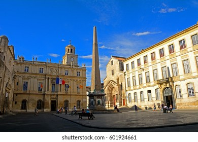 ARLES, FRANCE - JUNE 16 : Roman obelisk on 16 June 2016 at Arles, France. Arles has a lot of memorial from its rich Roman past.