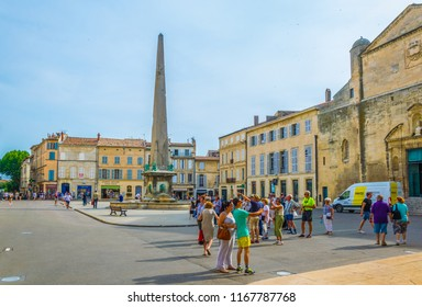 ARLES, FRANCE, JUNE 21, 2017: Place de la Republique in Arles, France