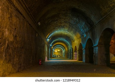 ARLES, FRANCE, JUNE 21, 2017: Cryptoportiques, an underground gallery or roman origin in Arles, France