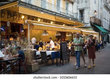 Arles, France - June 24, 2017: Cafe Van Gogh at Place du Forum in Arles. Provence, France