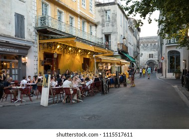 Arles, France - June 24, 2017: Cafe Van Gogh at Place du Forum in Arles. Provence, France