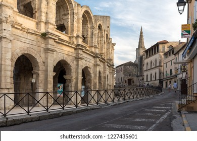 Arles, France - June 24, 2017: The Roman Amphitheater in the old town of Arles in Provence in the South of France.