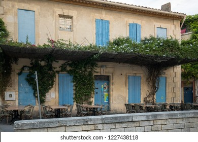 Arles, France - June 26, 2017: Facades of buildings near the Arena in Arles. France.