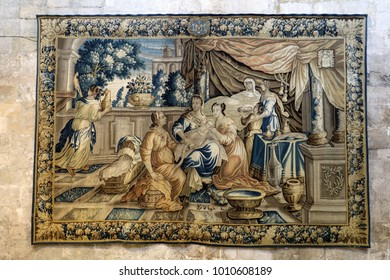 Arles, France - June 27, 2017: gallery of 17C Aubusson tapestries displayed in Saint-Trophime Cathedral show life of Godefroy de Bouillon in Jerusalem, Arles, France