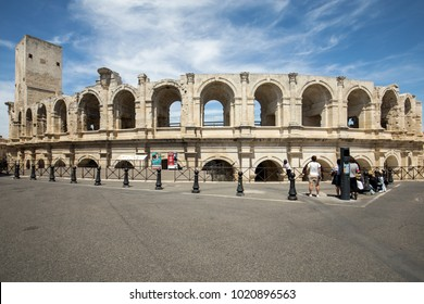 Arles, France - June 27, 2017: The Roman Amphitheater in the old town of Arles in Provence in the South of France.