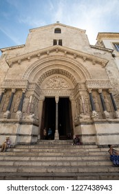Arles, France - June 27, 2017:  West facade of the Saint Trophime Cathedral in Arles, France. Bouches-du-Rhone,  France