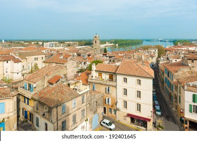 Arles, France - March 30: Panoramic view at the old city of Arles, Provence in France on March 30, 2014.