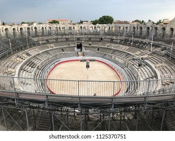 ARLES, FRANCE - MAY 06, 2018: The Arles (Arenes d'Arles) two-tiered Roman amphitheatre in the southern French town of Arles