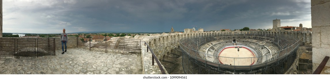 ARLES, FRANCE - MAY 06: Arles Amphitheatre (Arenes d'Arles) Roman amphitheatre in the southern French town of Arles, France on May 6th, 2018