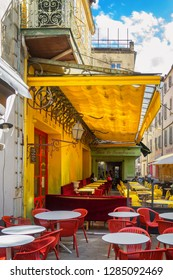 Arles, France - September 2, 2017: Cafe Van Gogh at Place du Forum in Arles