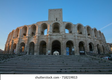 Arles, France - September 2, 2017: Long exposure photo of Amphitheatre in Arles