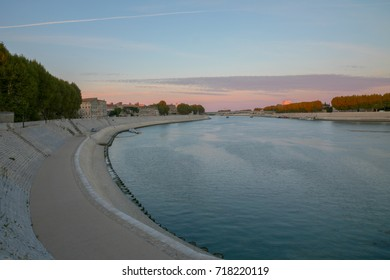Arles, France - September 2, 2017: Long exposure photo of river banks Rhône in Arles