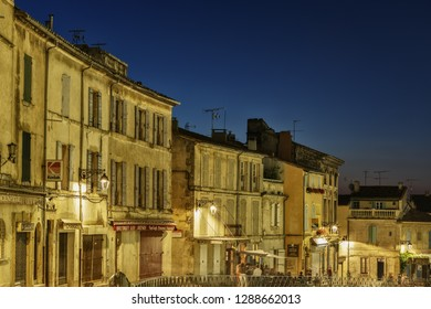 Arles, France-25 June, 2018: Night view in the historical center of Arles. Provence. France.
