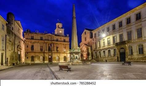 Arles Old Town with the Town Hall, Clock Tower, the roman Obelisk and medieval churches, Provence, France