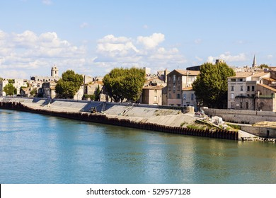 Arles panorama from the river. Arles, Provence-Alpes-Cote d'Azur, France.