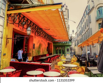 Arles, Provence / France - May 13 2014: Where Van Gogh painted Cafe Terrace at Night in Arles, Provence