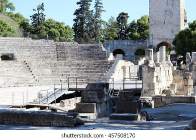 Arles Roman Theater ruins in the center of city Arles (A UNESCO World Heritage Site), France