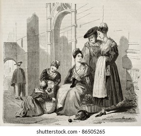 Arles women in traditional costumes, old illustration. Created by Montigneul, published on Magasin Pittoresque, Paris, 1843